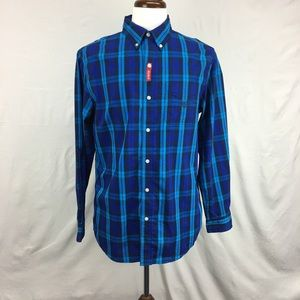 Chaps Blue Plaid Stretch Button down Shirt